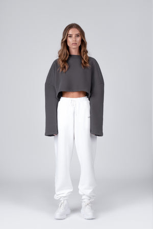 CROPPED SWEATSHIRT 01 - dark grey