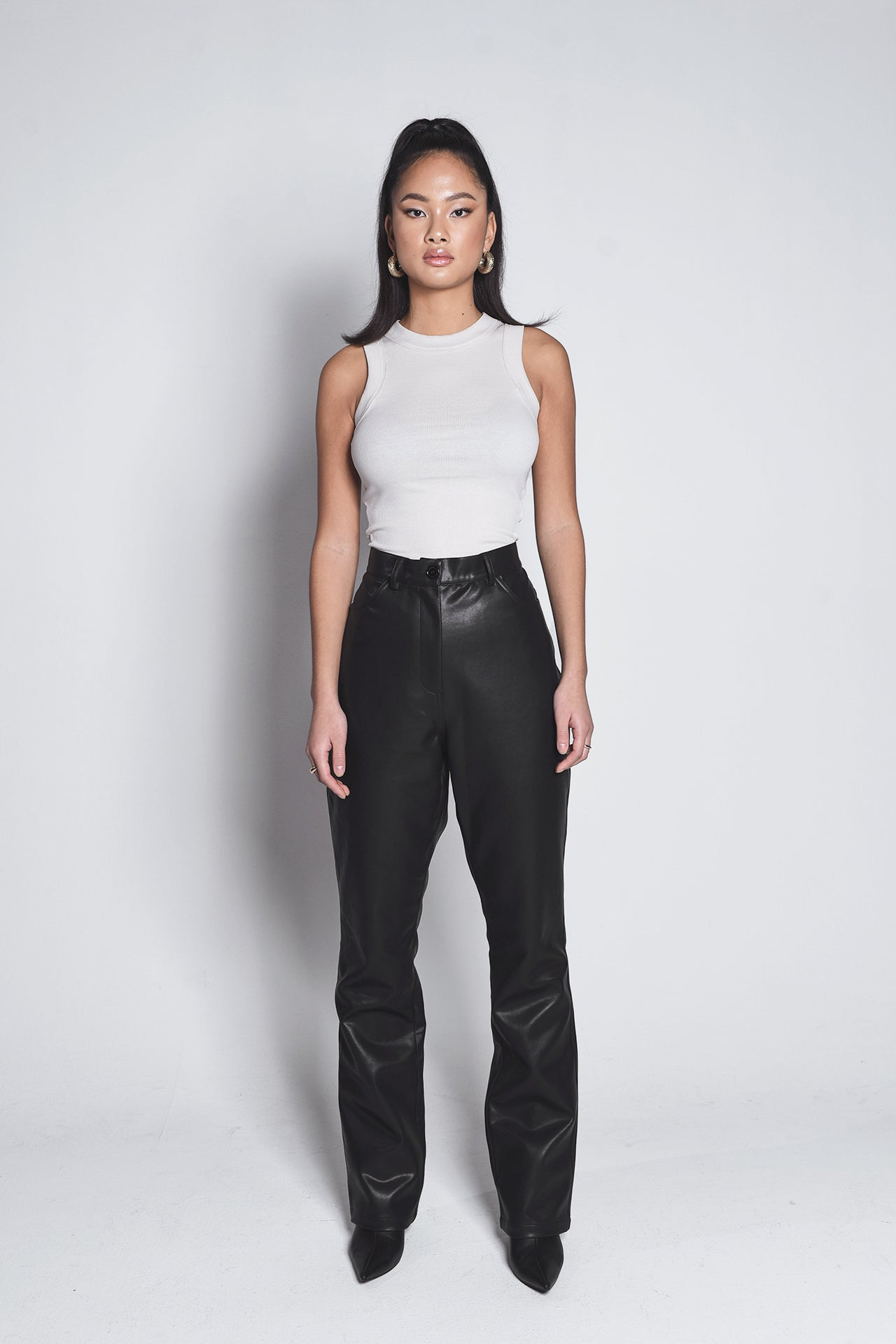 FAUX LEATHER PANT - black