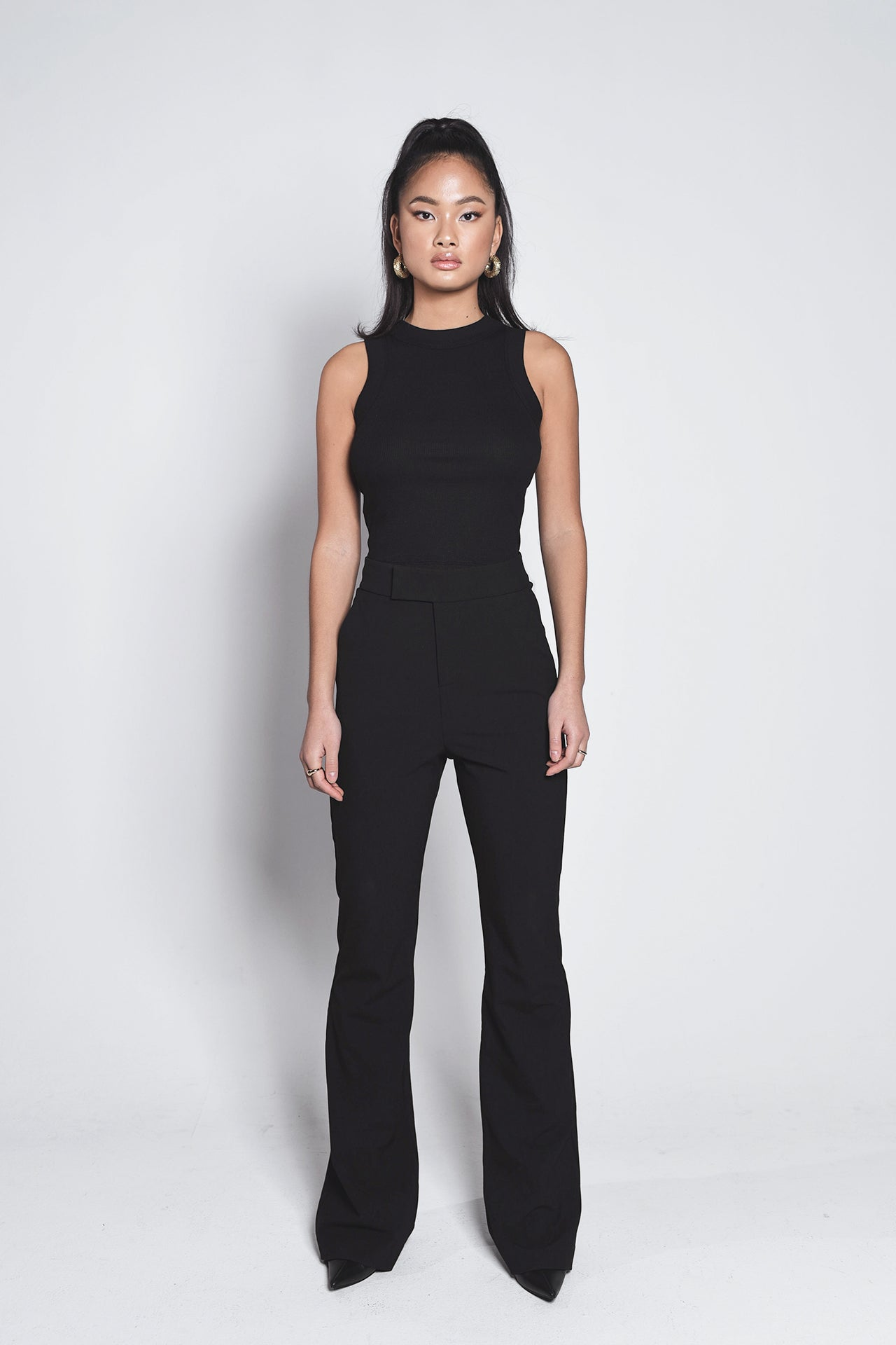 LONG SUIT PANTS - black
