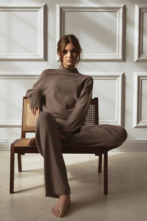 RIBBED PANT - taupe