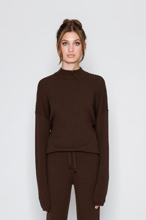 RIBBED SWEATER - brown