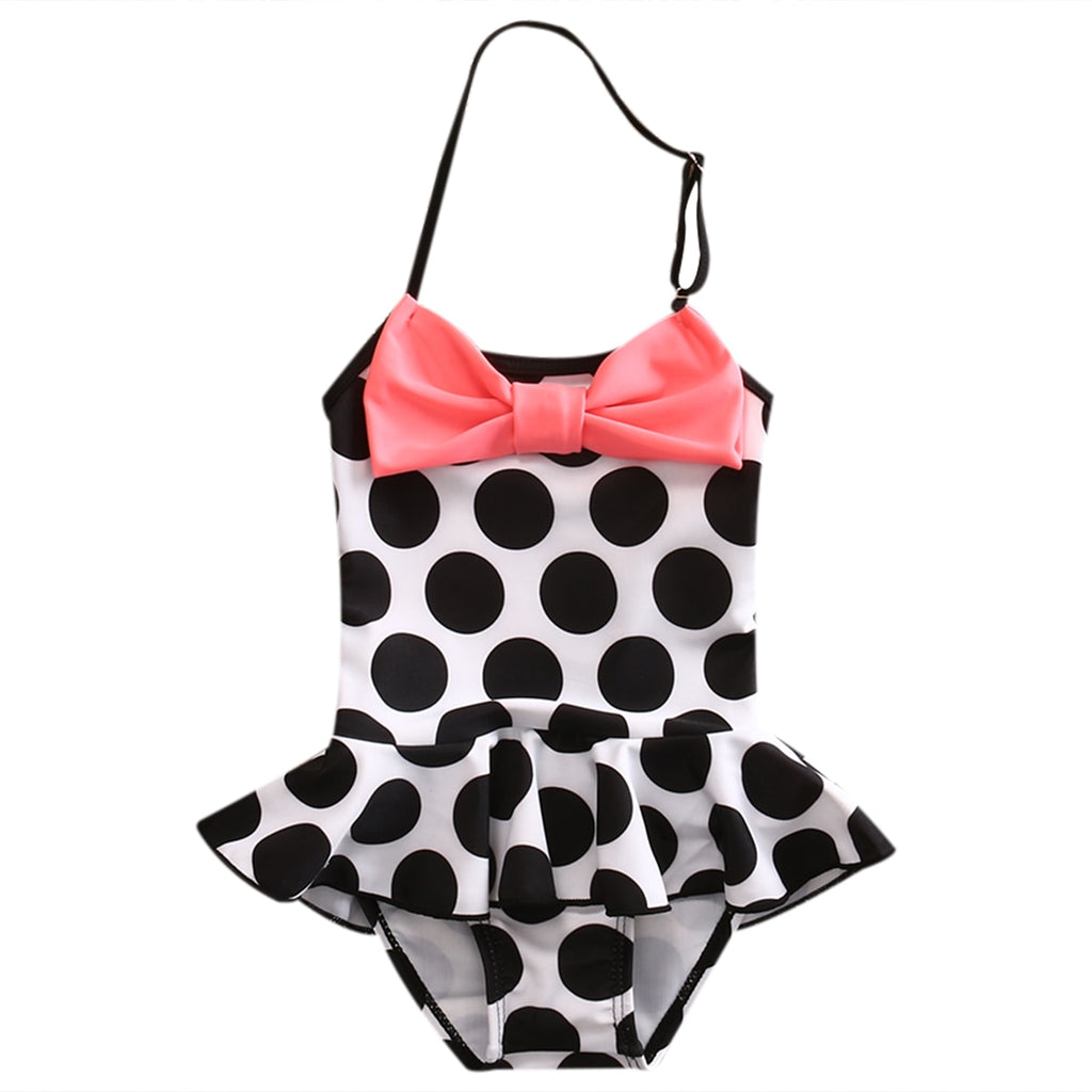 Summer Toddler Kids Baby Girl Polka Dot Bowknot Strap Swimwear One Pieces Suit Beachwear Swimming Bathing Suit Swimsuit