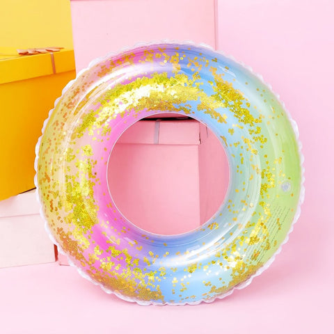 Colorful Sequins Swimming Ring Inflatable Float Adult Rainbow Child Swim Ring Summer Party Water Toy