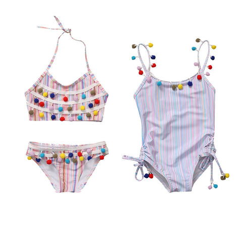Girls Strip Tassel Bow Bikini Swimwear for 1-6Y