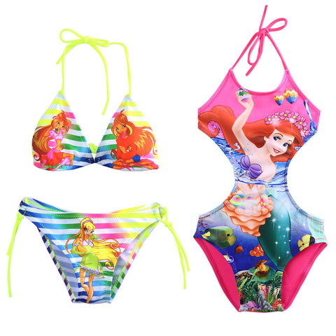 Beauty Mermaid Girls Halter Tankini Swimsuit  for 2-10Y