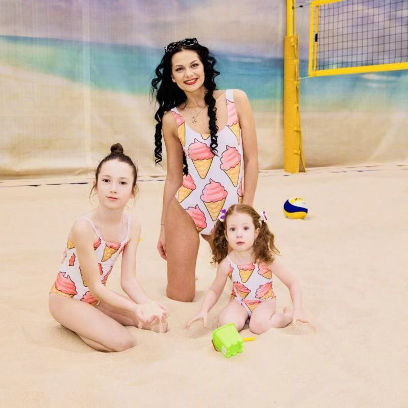 Mother And Daughter Swimsuit 2019 Cute Ice Cream Mom Daughter Swimwear Family Look Bathing Suit Family Matching Bikini Biquini