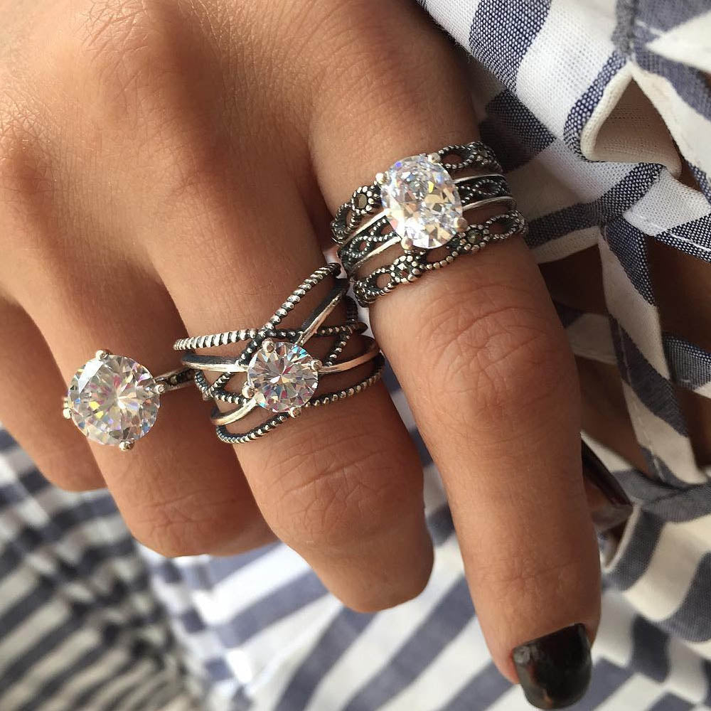 3pcs Big Cubic Zircon Wedding Knuckle Rings