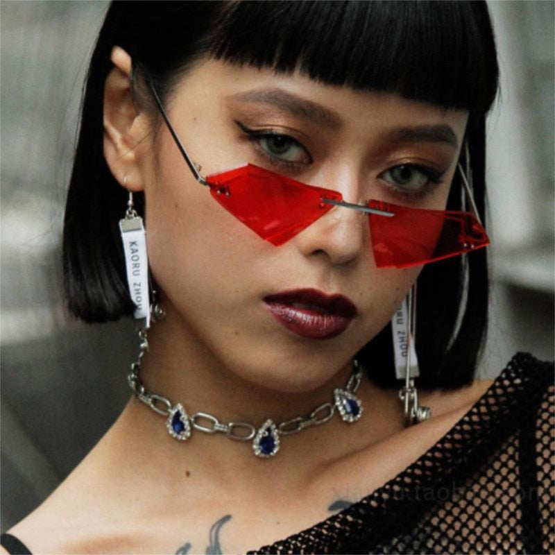 Retro clear lens Triangle  Cat eye sun glasses  Pink red yellow spectacles UV400