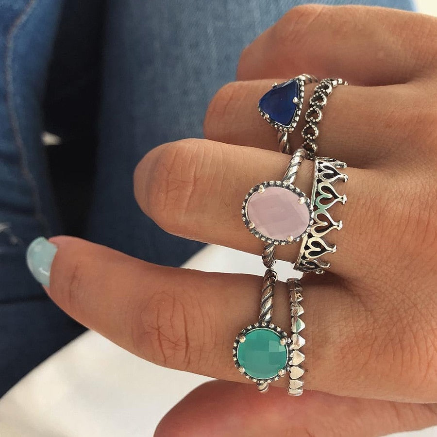 Crystal Women Rings Set Crown Heart Knuckles Vintage Jewelry Big Rhinestone Boho Finger Ring Female Ringen Gift