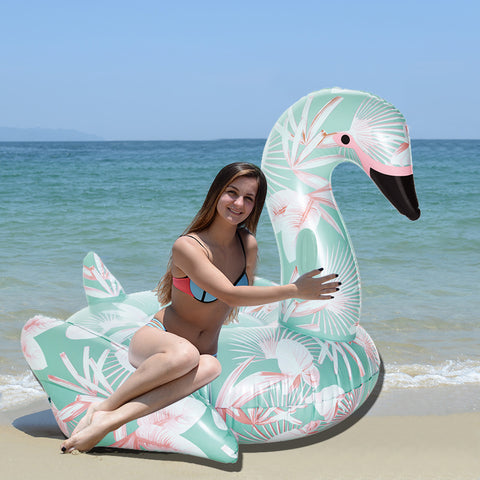 60 Inch 1.5M Giant Inflatable Swan Pool Float Ride-On Floral Print