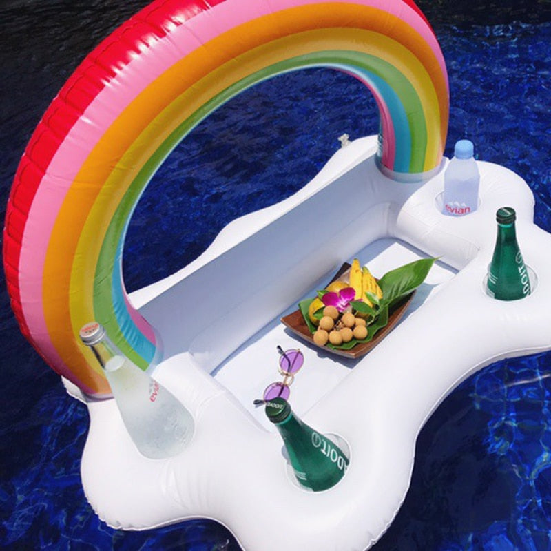 White Clouds Float Inflatable Rainbow Drink Holder Swimming Pool Bathroom Beach Party Kids Bath