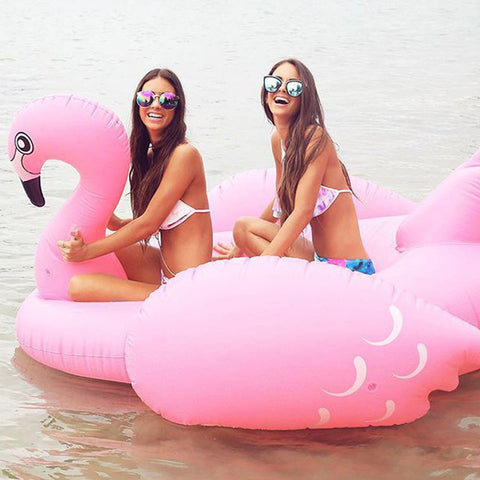 190cm 75inch Giant Luxury Pink Inflatable Flamingo Pool Float