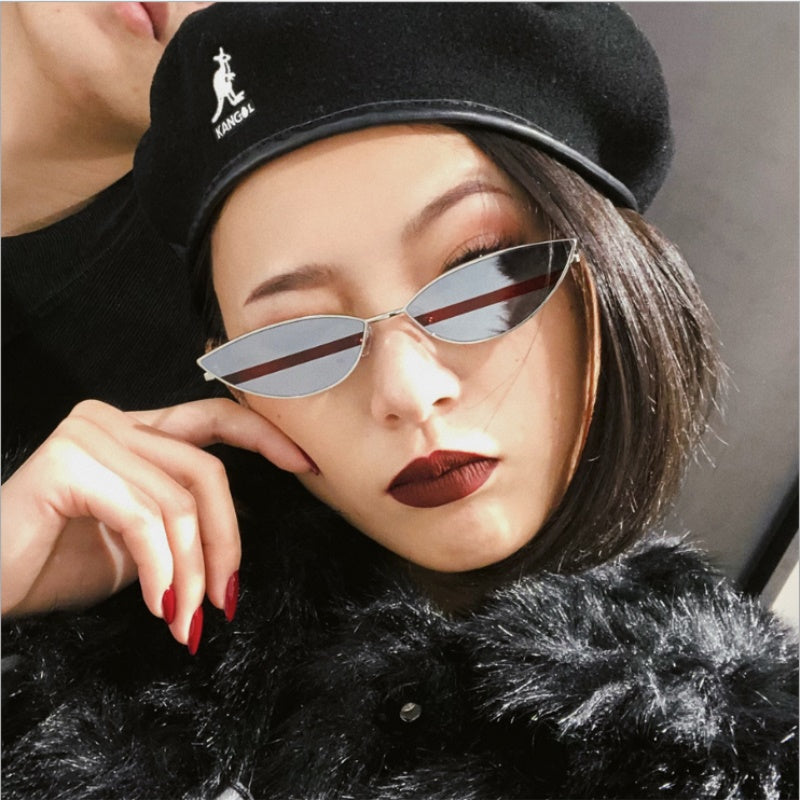 Small Oval Metal mirror Cat Eye Women Glasses Sexy Glasses