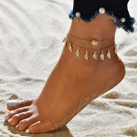 Gold Silver Leaves Anklet