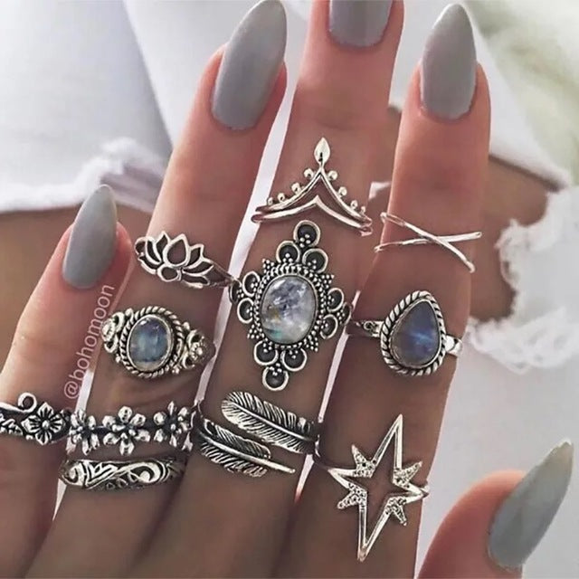 Moonlight-(11PCS Statement Rings )
