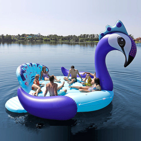 6 Person Inflatable Giant Peacock Pool Float