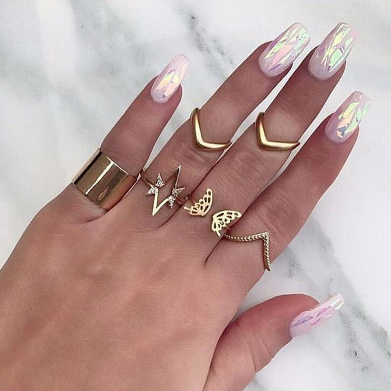 Maxi Rings for Women Finger Knuckle Ring Set 7PCS Punk Gld Color Jewelry Boho Big Star Butterfuly Party Accessories