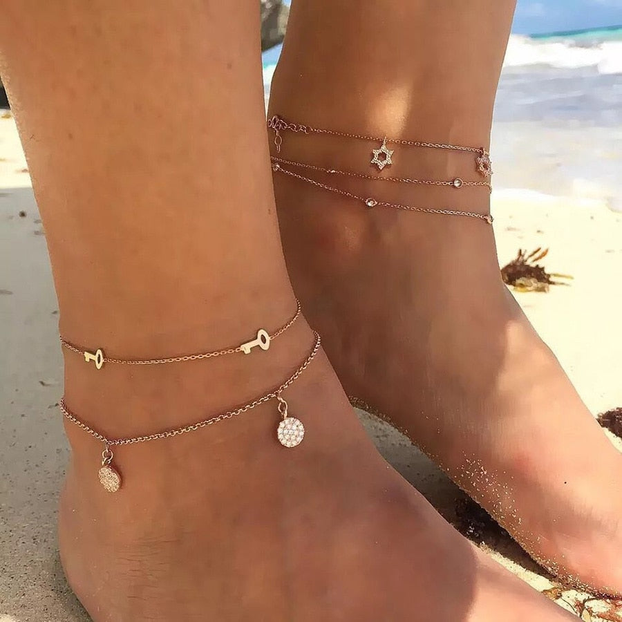 2 Style Bracelet Cheville Foot Jewelry