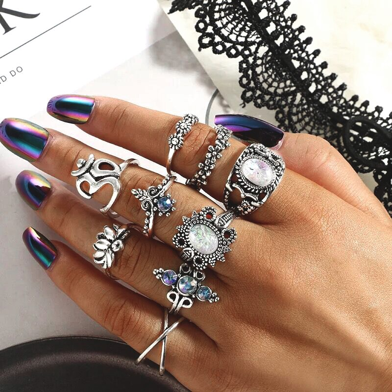 magic ring (9Pcs Boho Kunckle Ring )