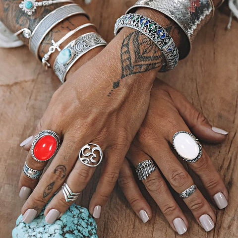 Big Red Opal Stone Women Ring Set  7PC