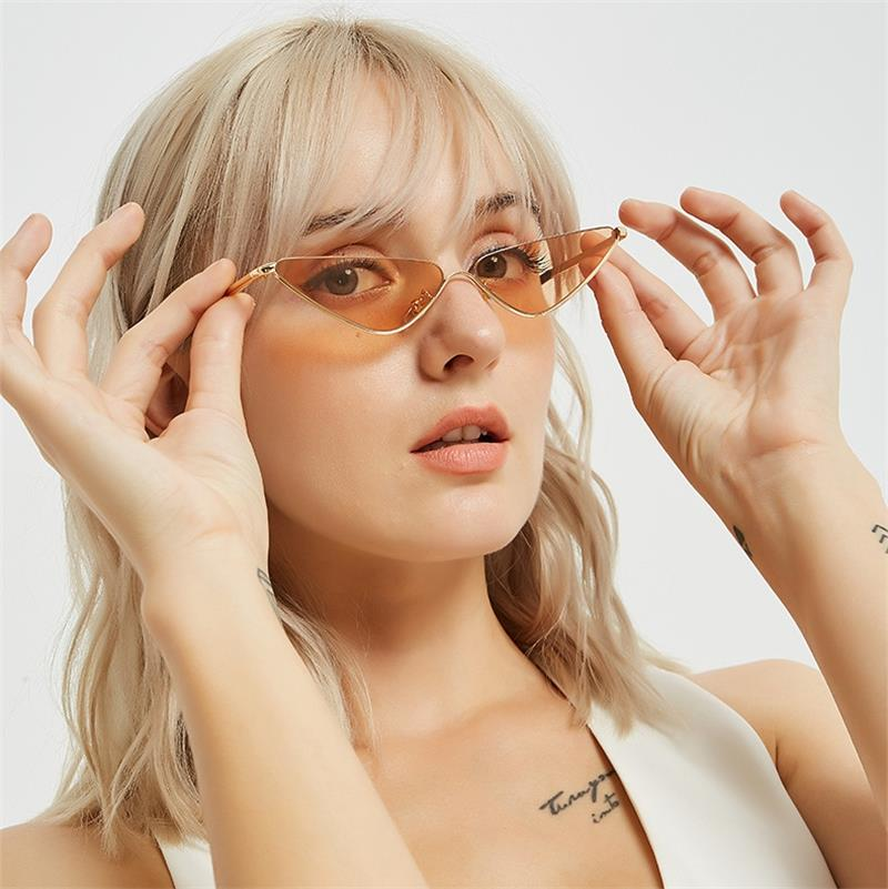 small Cat eye metal clear shades triangle Sun Glasses