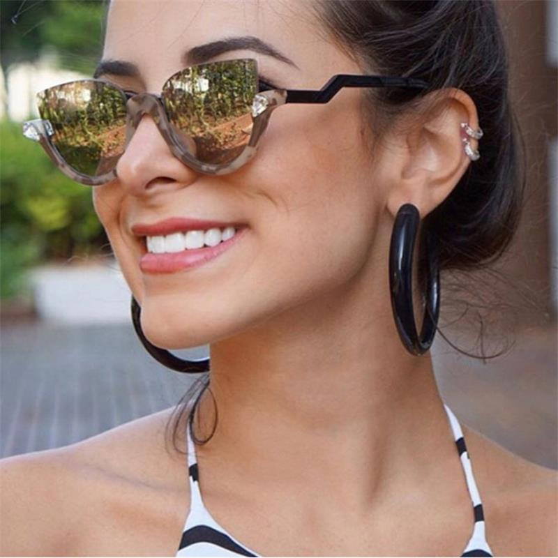 cat eye mirror crystal Sun glasses  Gradient Glasses frames