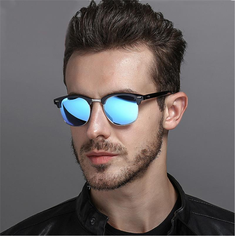 Men Polaroid Sunglasses Retro Rivet Shades Brand Designer Sun glasses for men Classic Men mirror Night Vision Driving Sunglasse