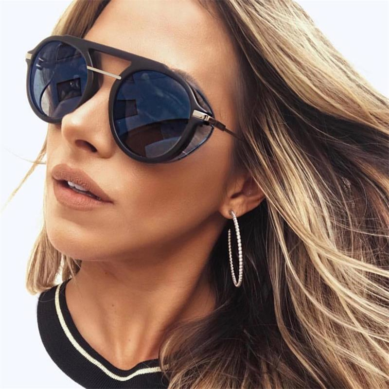 vintage Round sunglasses women  2018 luxury famous brand punk sunglasses men  pilot sun glasses for women lunette femme Lady