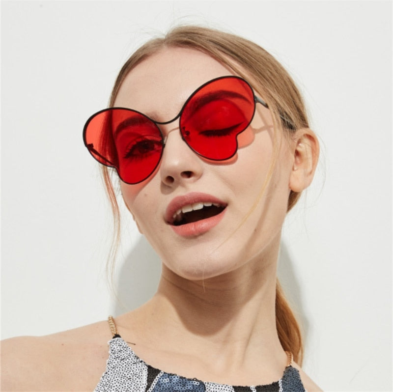 oversized cat eye  butterfly  shades luxury clear pink mirror glasses