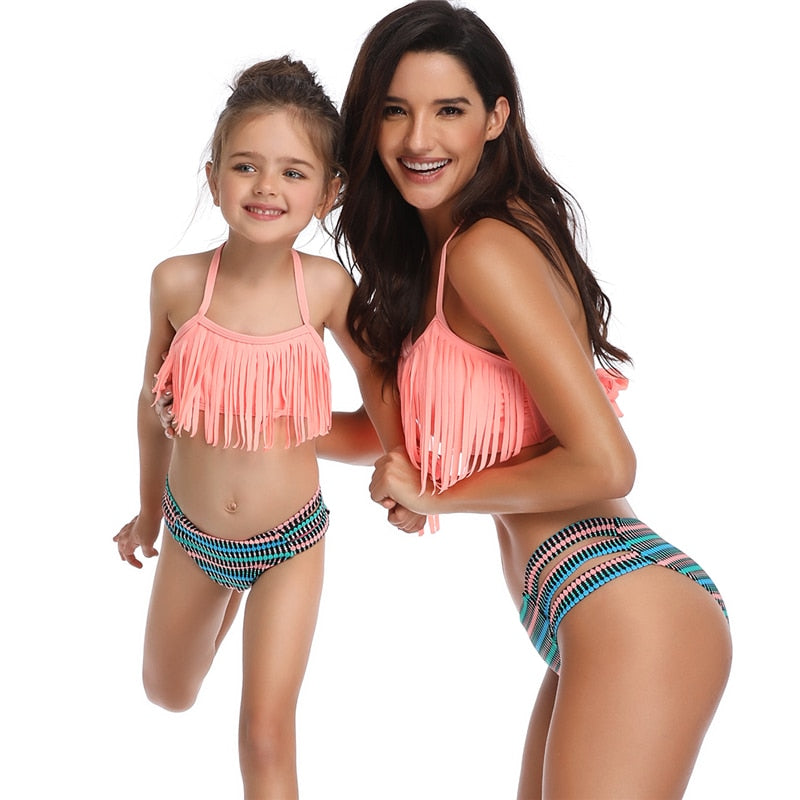Tassel Two Pieces Cute Bikini Family Matching Outfits Babay Kids Children Girl adult Swimwear Bathing Female Swimsuit for Girls