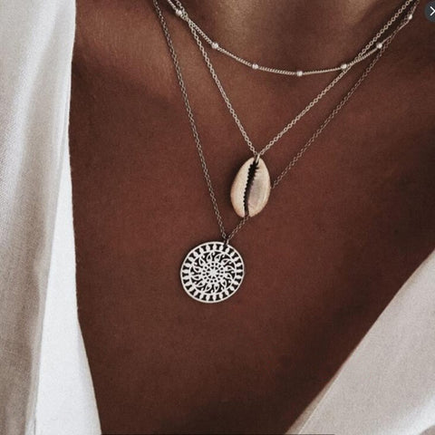 Long Chain Round Charm Statement Choker