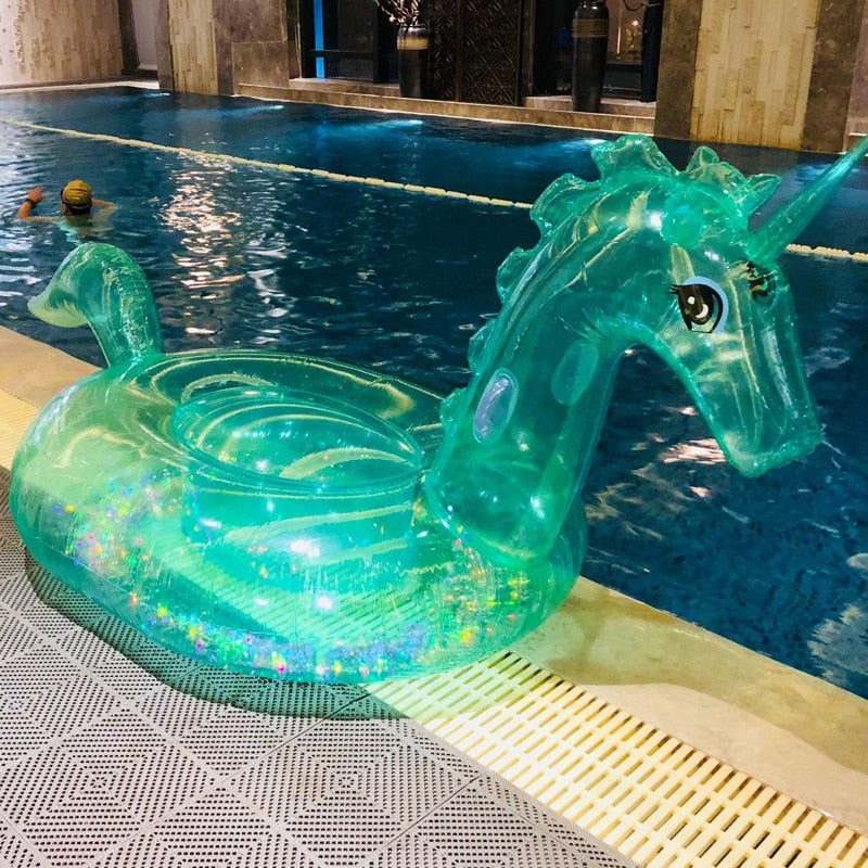 Transparent Inflatable Unicorn Swim Floating Row Child Pink Float Swimming Pool Adult Swimming Mat