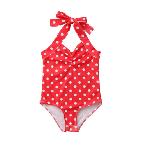 0-3Y Cute Newborn Toddler Kids Baby Girl Sleeveless Backless Polka Dot Strap Halter Swimming One Pieces Bathing Suit Swimsuit