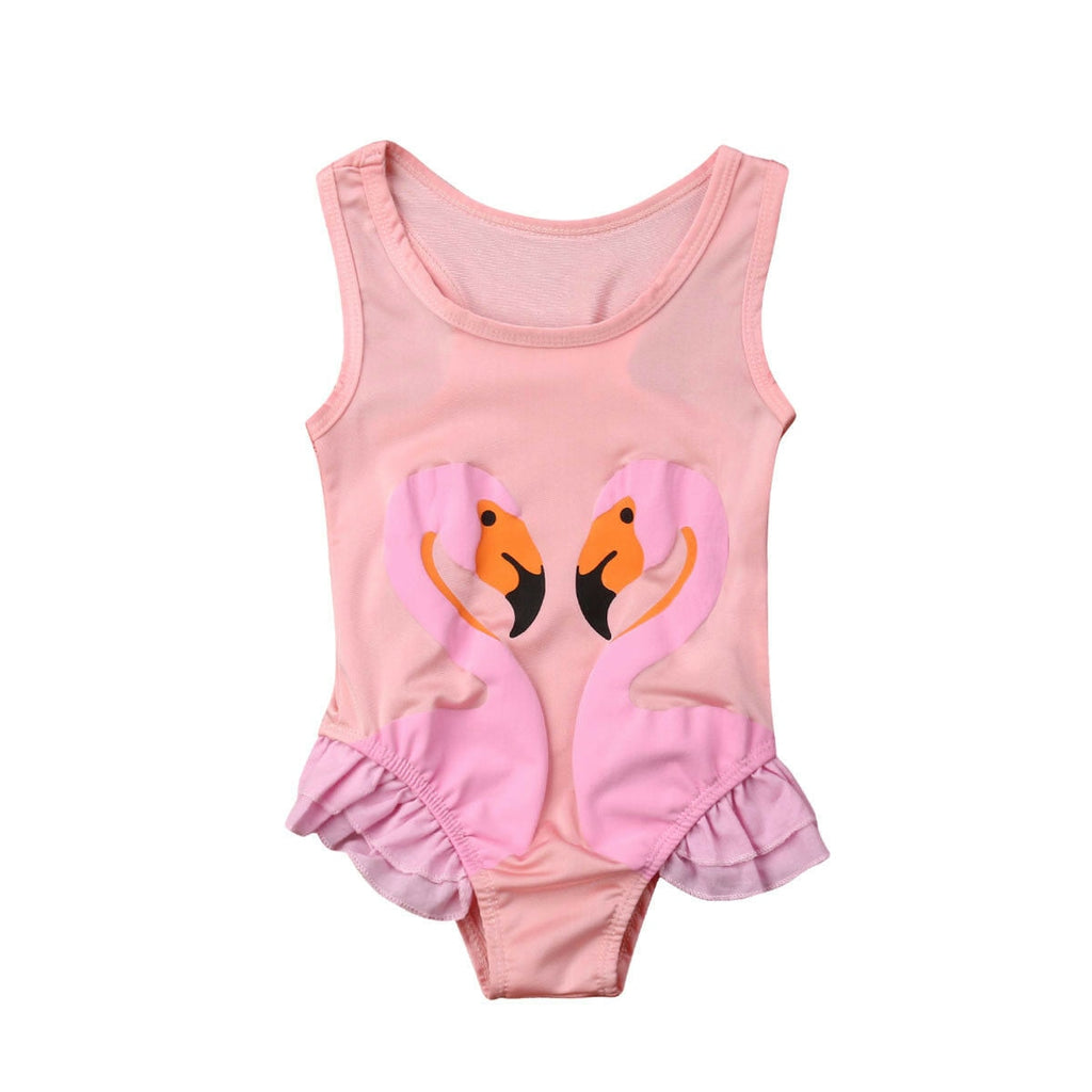 Flamingo Toddler Kids Baby Girl Swimsuit Sleeveless Ruffles Swimwear Bathing Suit One Pieces Tankini Beachwear Swimming Costume