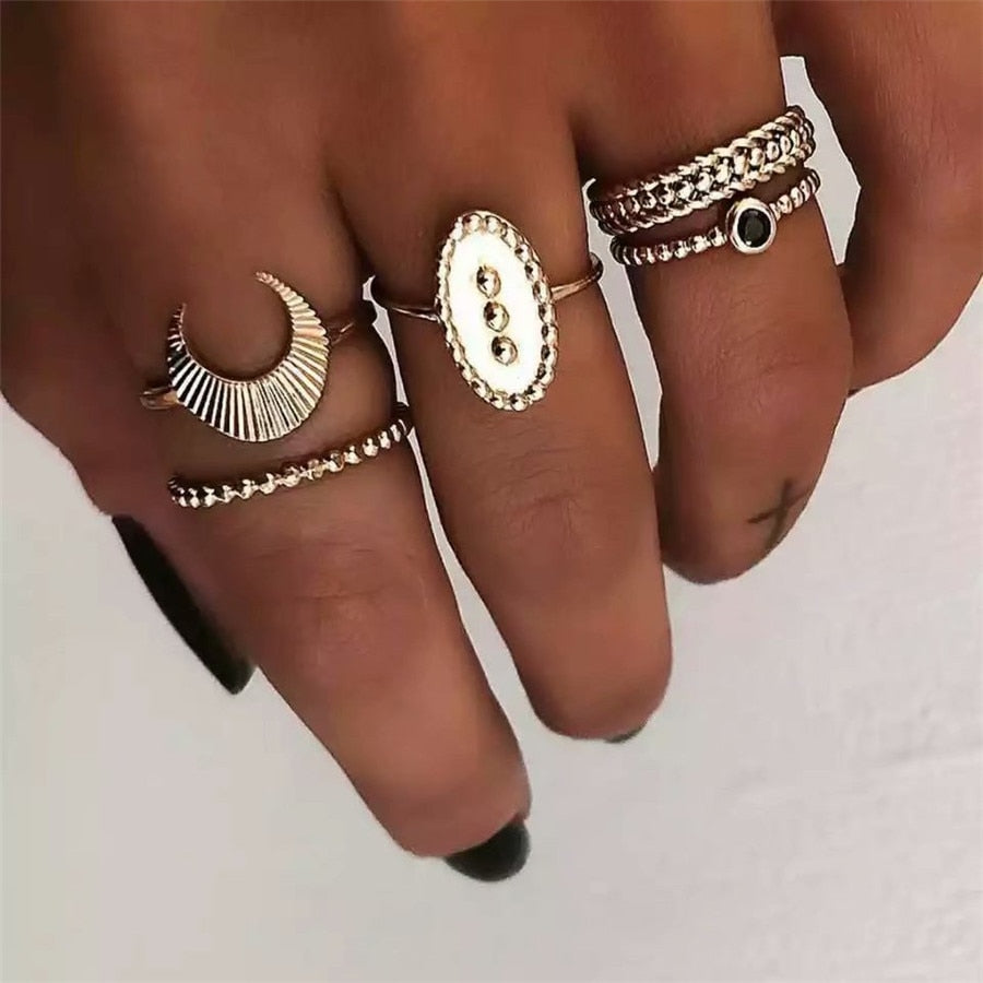 Retro Ethnic Knuckle Ring Set Women Gold Color Moon Black Stone Turkish Jewelry Boho Crescent Midi Finger Bague Femme New 2019