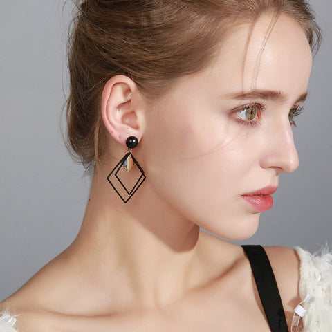 Brincos Femme Bijoux Big Double Square Drop Earrings