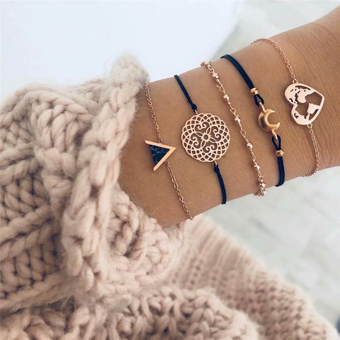 Heart Map Love Boho Bracelets (5pcs)