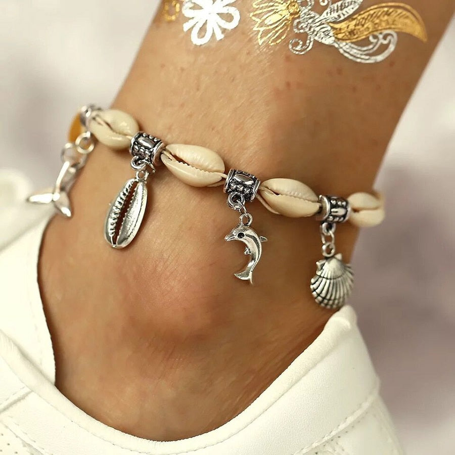 Vintage Boho Anklets for Women Bohemian Shell Fishtail Dolphin Love Charm Bracelet On Leg 2019 Foot Jewelry Beach Accessories