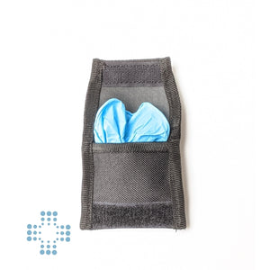 Glove pouch for belt branded with pair of large nitrile gloves