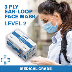 Face Mask Level 2 ASTM F2100-19 Surgical Face Mask Blue 50/box - Made in Canada (no Dentx stamp)