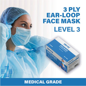 Face Masks ASTM Level 3 Procedure Mask Blue 50/box - Made in Canada