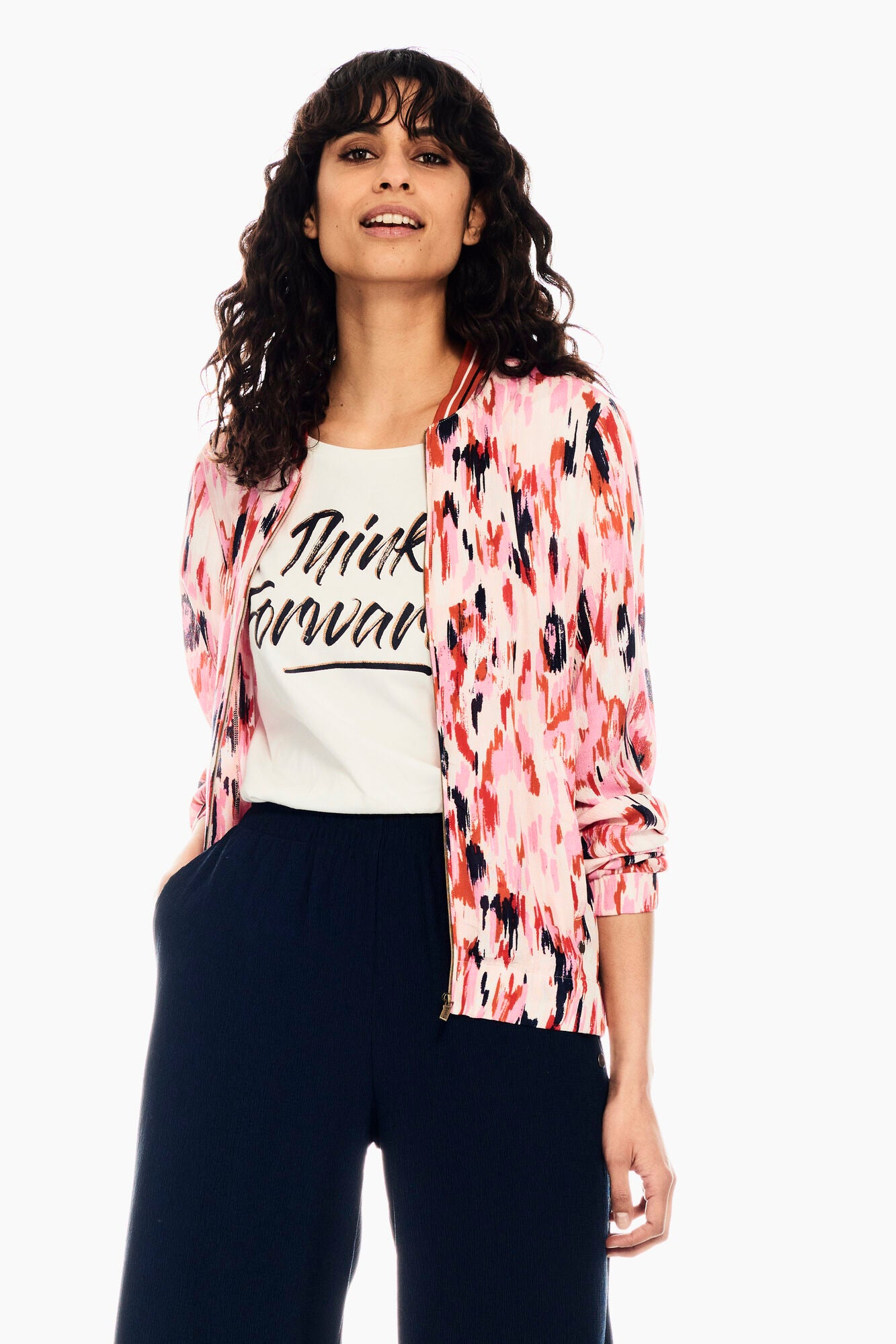 Pink Multi Lightweight Bomber by Garcia