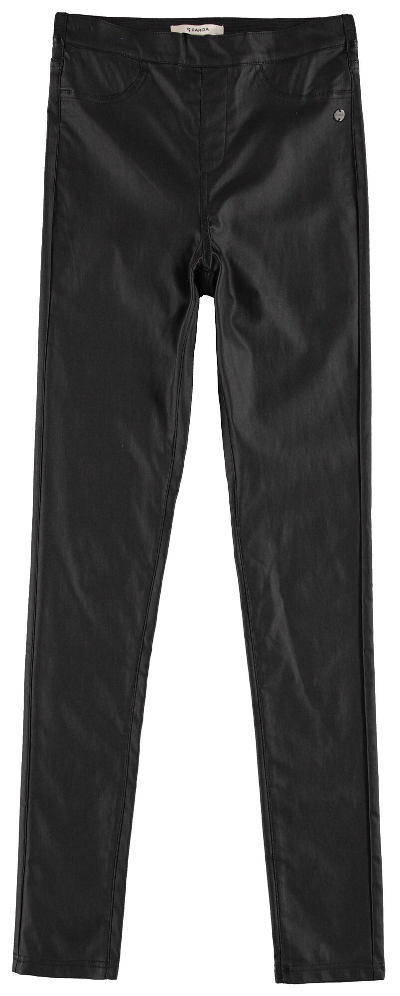 Black Leather Look Skinny Trousers by Garcia