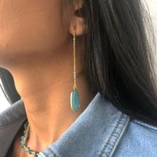 Yellow Gold and Turquoise Chain Earrings by Colour Addict