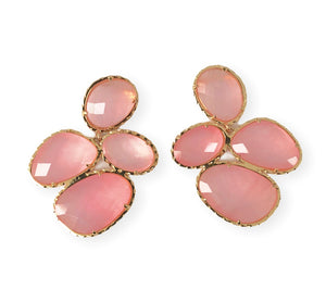 Pink Catseye Cluster Earrings by Colour Addict
