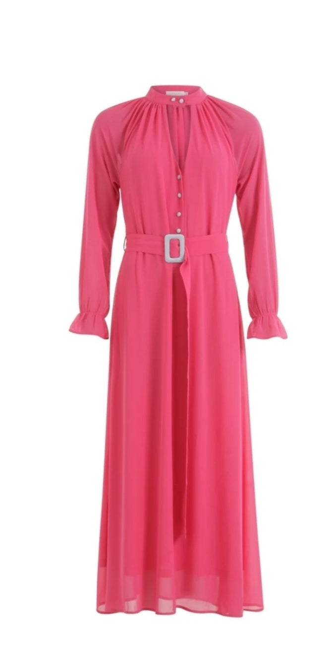 Long Pink Dress with Buckle Detail by Coster Copenhagen