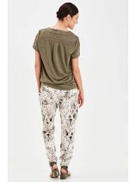 Palm Print Trousers by Fransa