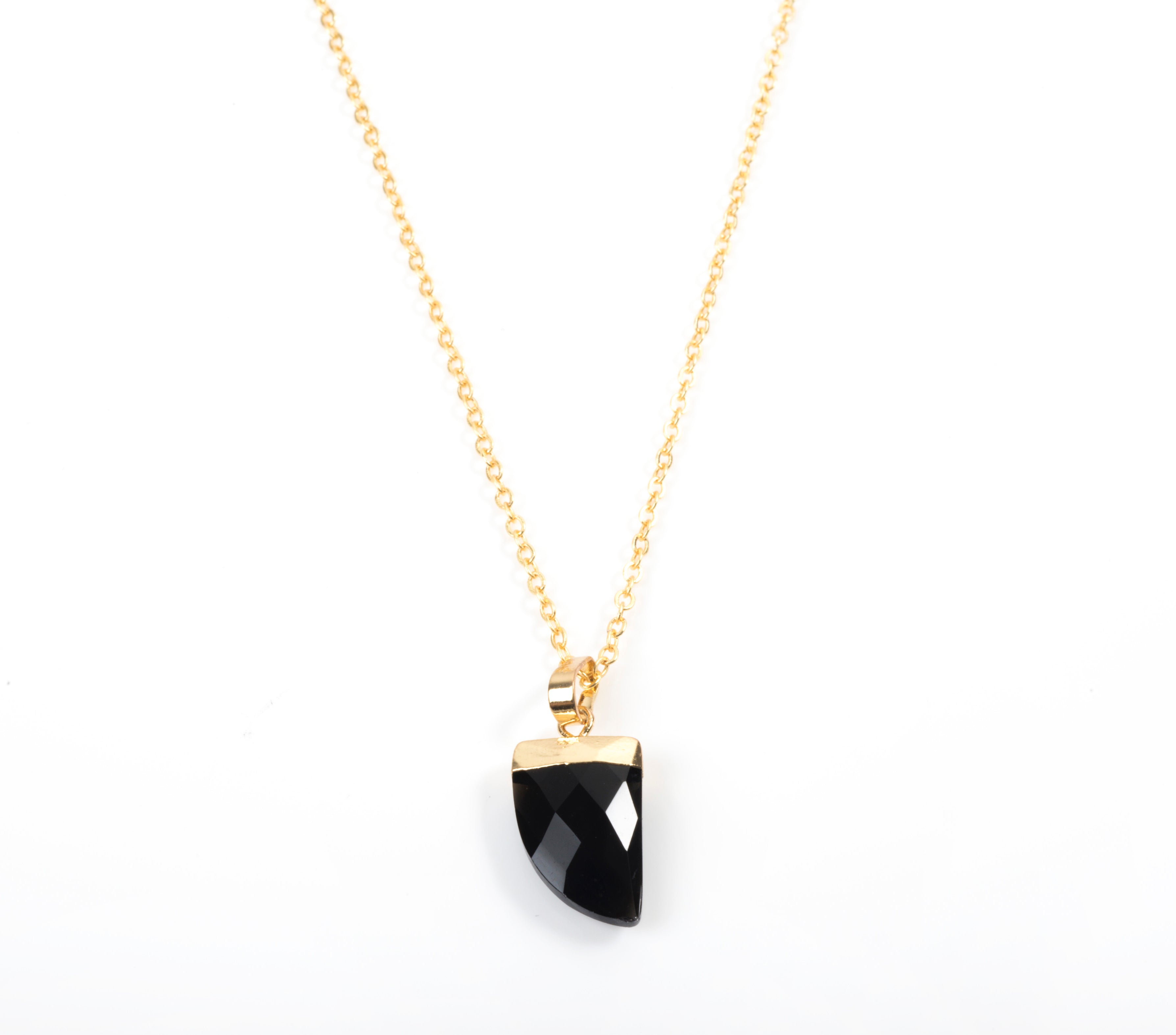 Black Onyx Claw Necklace in Yellow Gold by Colour Addict