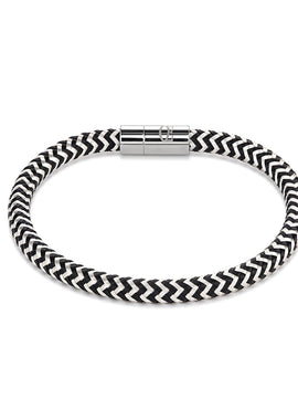 Braided silver plated enamelled bracelet black 0116_31_1713