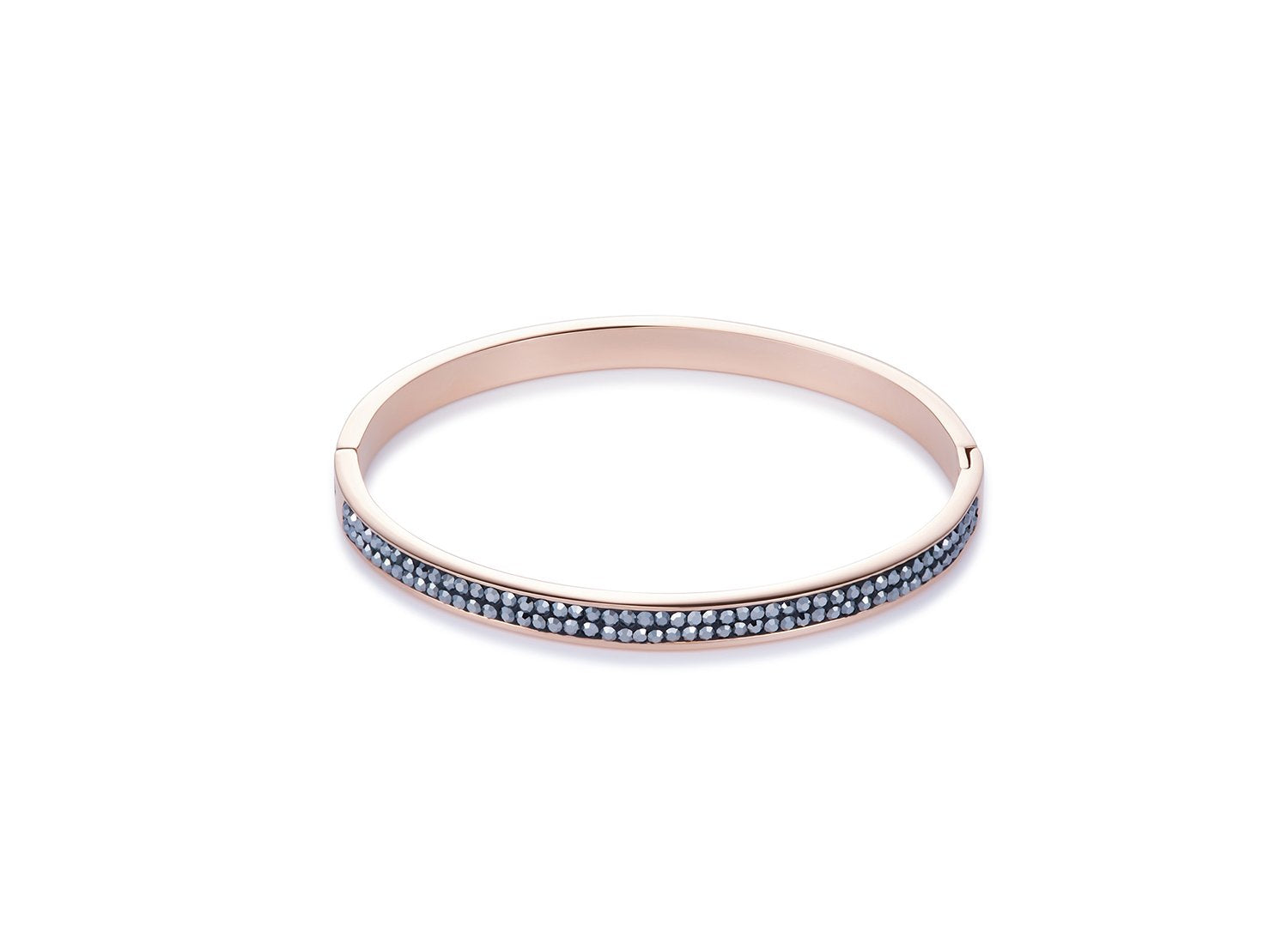 Rose gold stainless steel hematite pavé set bangle 0214_33_1223